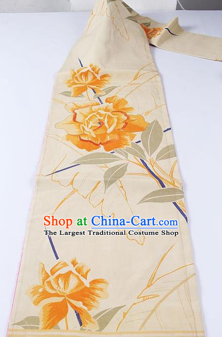 Japanese Traditional Yukata Accessories Classical Rose Pattern Beige Brocade Belt Asian Japan Kimono Waistband for Women