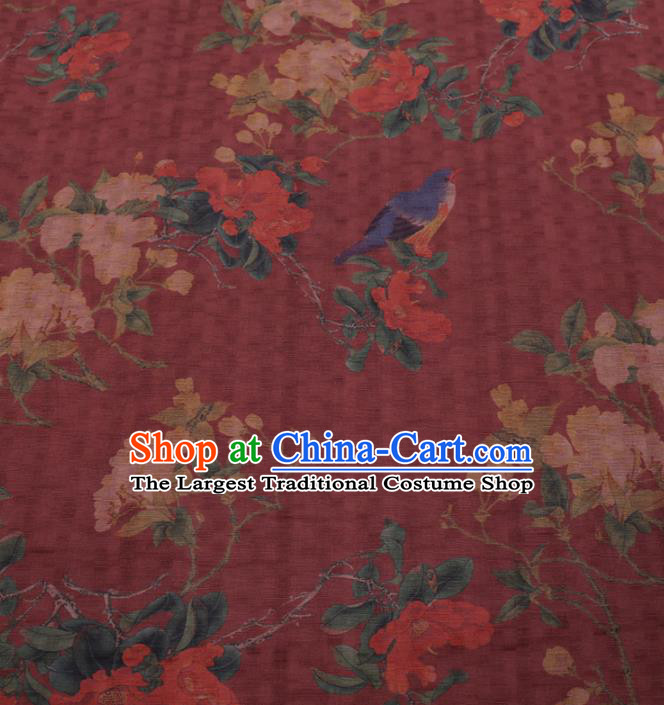 Traditional Chinese Classical Pear Flowers Pattern Design Wine Red Gambiered Guangdong Gauze Asian Brocade Silk Fabric