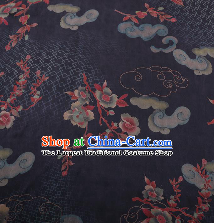 Traditional Chinese Classical Cloud Wintersweet Pattern Design Navy Gambiered Guangdong Gauze Asian Brocade Silk Fabric