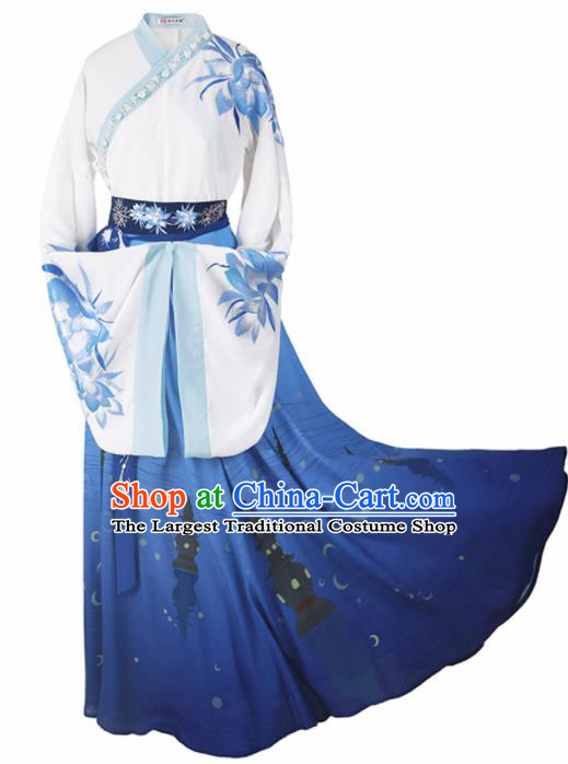 Chinese Ancient Jin Dynasty Imperial Consort Hanfu Dress Traditional Embroidered Replica Costume for Women