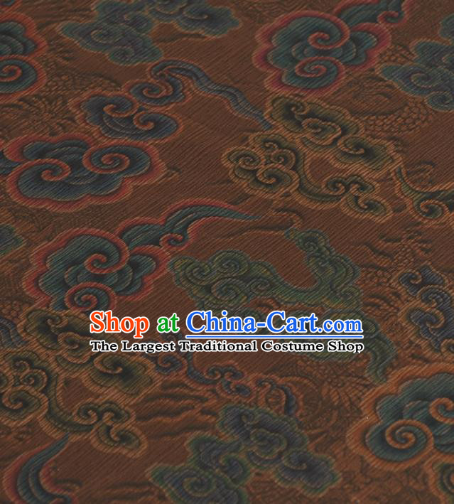 Chinese Traditional Auspicious Clouds Pattern Design Brown Gambiered Guangdong Gauze Asian Brocade Silk Fabric