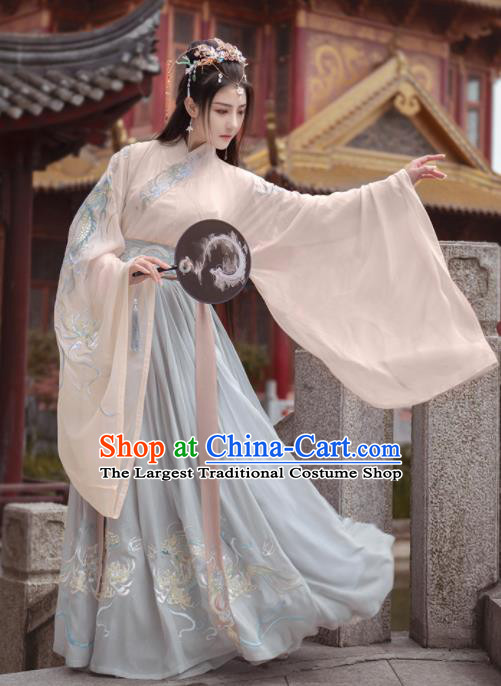 Chinese Traditional Hanfu Dress Ancient Jin Dynasty Court Princess Embroidered Historical Costume for Women