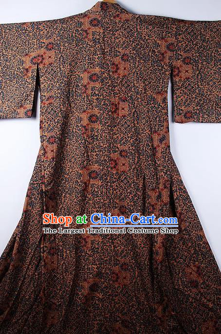 Asian Japanese Ceremony Classical Pattern Brown Kimono Traditional Japan National Yukata Costume for Men