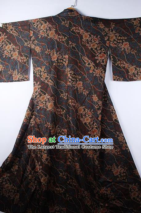 Asian Japanese Ceremony Classical Sakura Pattern Brown Kimono Traditional Japan National Yukata Costume for Men