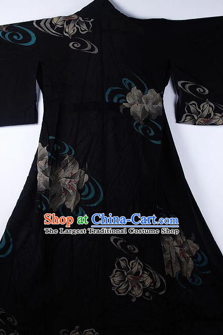 Asian Japanese Ceremony Classical Flowers Pattern Black Kimono Traditional Japan National Yukata Costume for Men