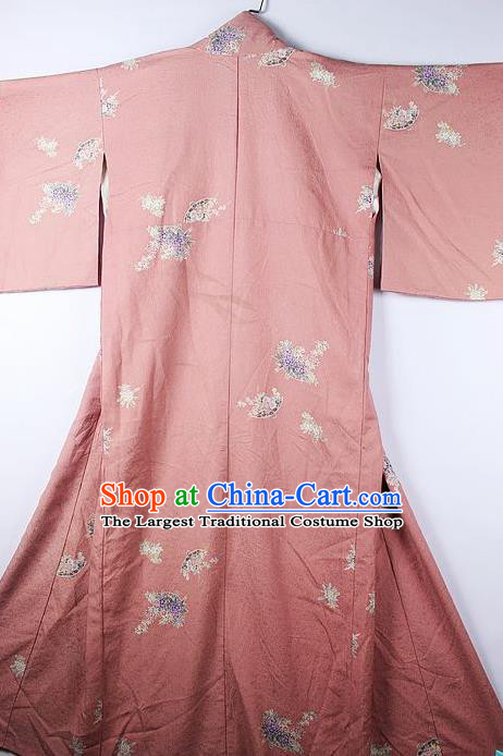 Asian Japanese National Printing Chrysanthemum Pink Furisode Kimono Ceremony Costume Traditional Japan Yukata Dress for Women