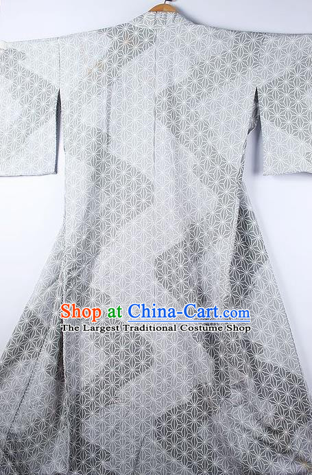 Asian Japanese Ceremony Printing Light Grey Kimono Traditional Japan National Yukata Costume for Men