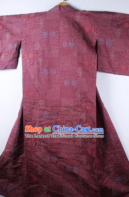 Asian Japanese Ceremony Printing Purple Kimono Traditional Japan National Yukata Costume for Men