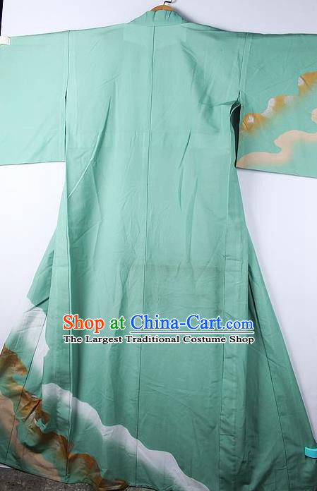 Asian Japanese Ceremony Printing Waves Green Kimono Traditional Japan National Yukata Costume for Men