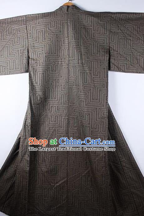 Asian Japanese Ceremony Printing Grey Kimono Traditional Japan National Yukata Costume for Men