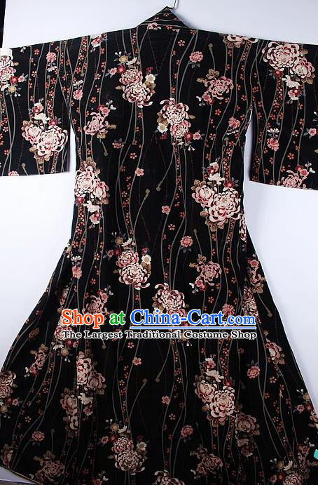 Asian Japanese Ceremony Printing Chrysanthemum Black Kimono Traditional Japan National Yukata Costume for Men