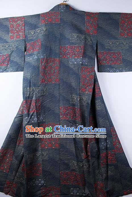 Asian Japanese Ceremony Printing Daisy Deep Grey Kimono Traditional Japan National Yukata Costume for Men