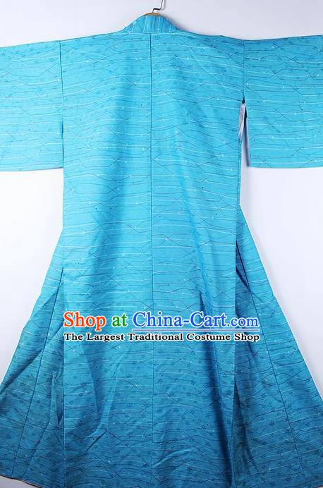 Asian Japanese Ceremony Printing Blue Kimono Traditional Japan National Yukata Costume for Men