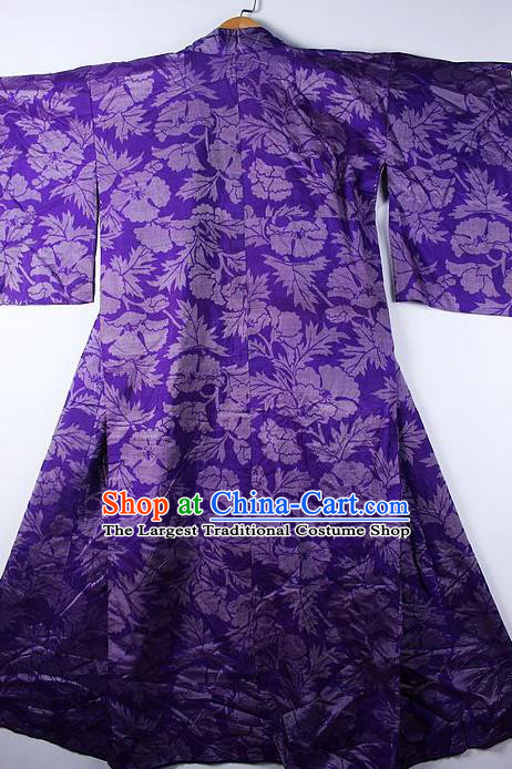 Asian Japanese Ceremony Printing Cockscomb Purple Kimono Traditional Japan National Yukata Costume for Men