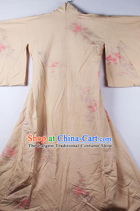 Asian Japanese National Printing Chrysanthemum Champagne Furisode Kimono Ceremony Costume Traditional Japan Yukata Dress for Women