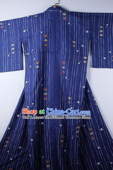 Asian Japanese Ceremony Clothing Printing Deep Blue Kimono Traditional Japan National Yukata Costume for Men