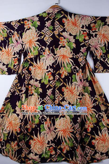 Asian Japanese Ceremony Clothing Printing Chrysanthemum Black Kimono Traditional Japan National Yukata Costume for Men