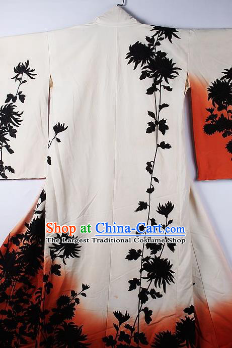 Asian Japanese Ceremony Clothing Printing Chrysanthemum White Kimono Traditional Japan National Yukata Costume for Men