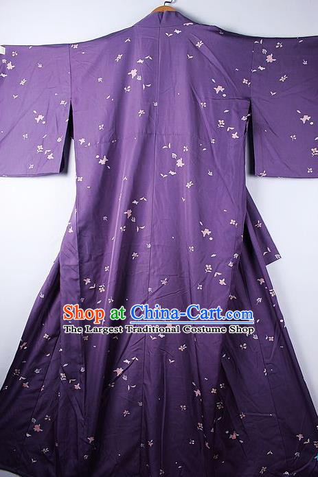 Asian Japanese Ceremony Clothing Printing Purple Kimono Traditional Japan National Yukata Costume for Men
