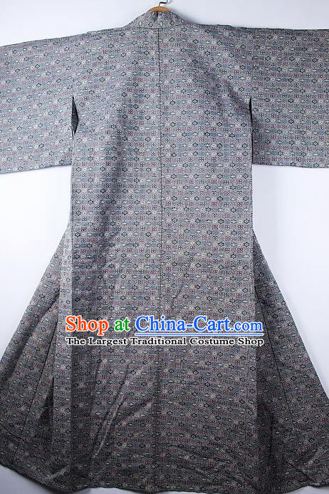 Asian Japanese Ceremony Clothing Classical Pattern Grey Kimono Traditional Japan National Yukata Costume for Men