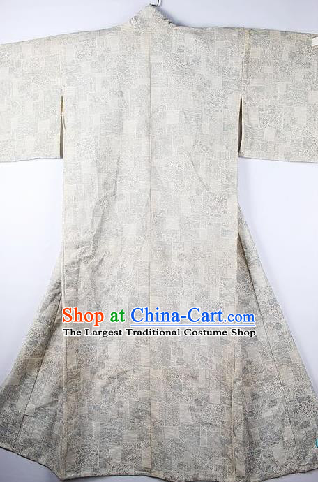 Asian Japanese Ceremony Clothing Classical Pattern White Kimono Traditional Japan National Yukata Costume for Men