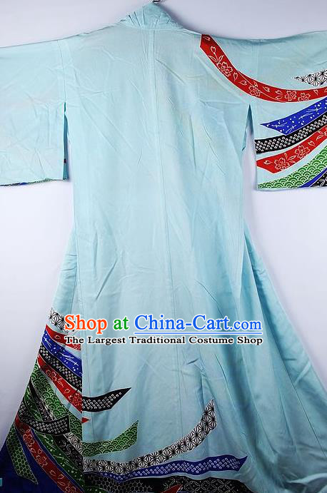 Asian Japanese Ceremony Clothing Classical Pattern Blue Kimono Traditional Japan National Yukata Costume for Men