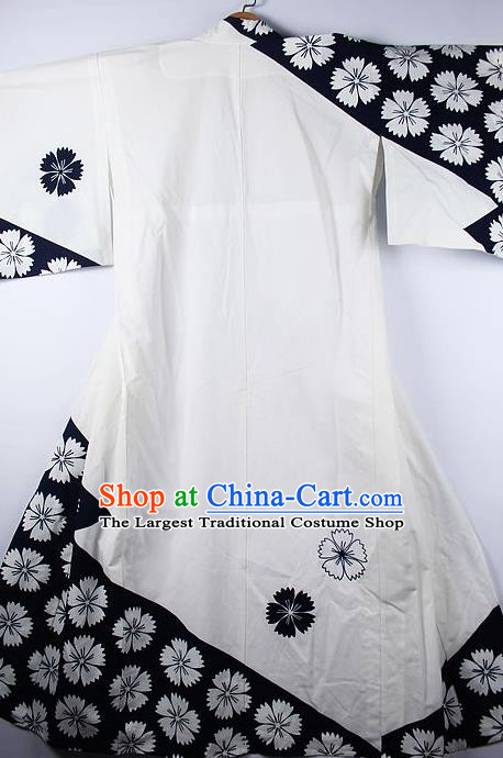 Asian Japanese Ceremony Clothing Classical Sakura Pattern White Kimono Traditional Japan National Yukata Costume for Men