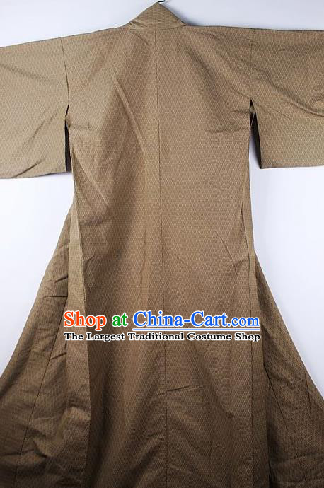 Asian Japanese Ceremony Clothing Classical Pattern Brown Kimono Traditional Japan National Yukata Costume for Men