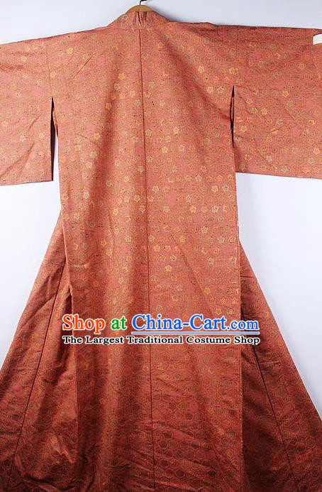 Asian Japanese Ceremony Clothing Classical Sakura Pattern Orange Kimono Traditional Japan National Yukata Costume for Men