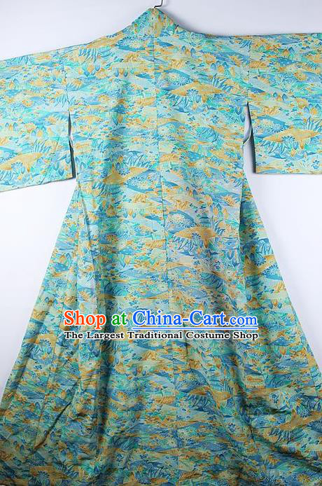 Asian Japanese Ceremony Clothing Classical Landscape Pattern Blue Kimono Traditional Japan National Yukata Costume for Men