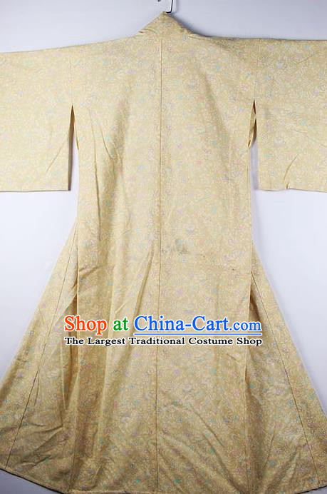 Asian Japanese Ceremony Clothing Classical Pattern Yellow Kimono Traditional Japan National Yukata Costume for Men
