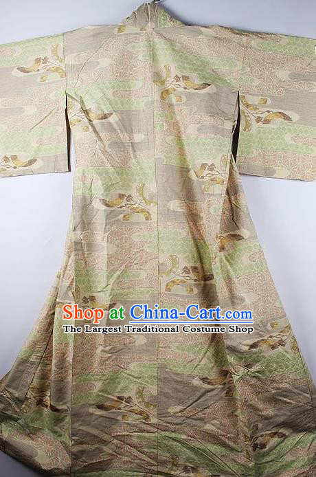 Asian Japanese Ceremony Clothing Classical Pine Pattern Khaki Kimono Traditional Japan National Yukata Costume for Men