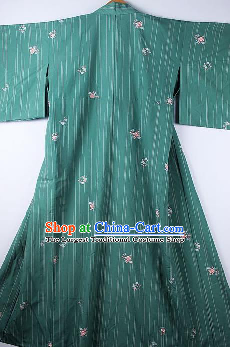 Asian Japanese Ceremony Clothing Printing Sakura Green Kimono Traditional Japan National Yukata Costume for Men