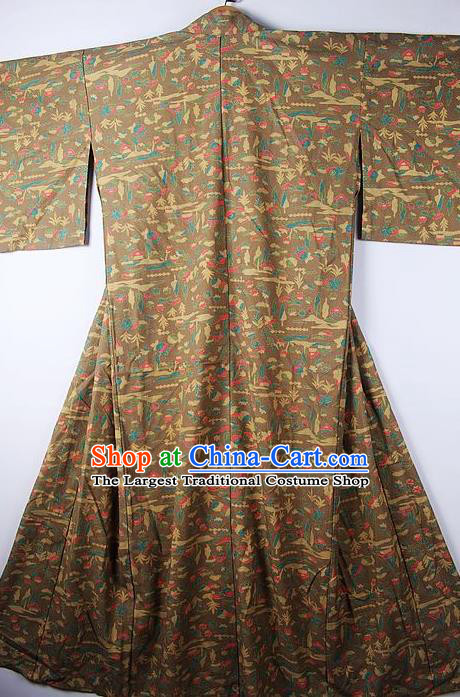 Asian Japanese Ceremony Clothing Printing Khaki Kimono Traditional Japan National Yukata Costume for Men