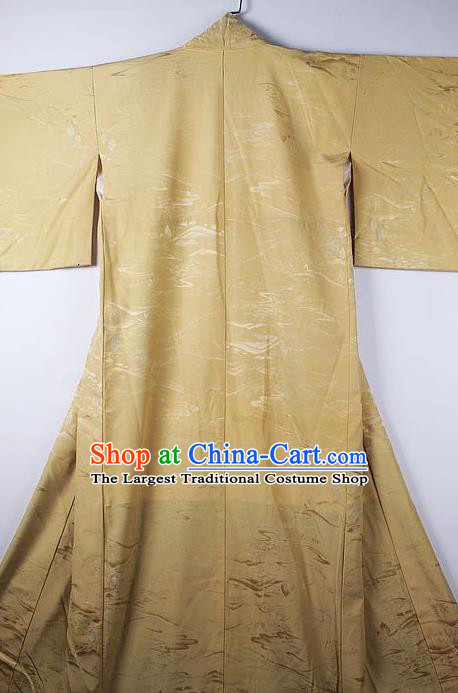Asian Japanese Ceremony Clothing Printing Yellow Kimono Traditional Japan National Yukata Costume for Men