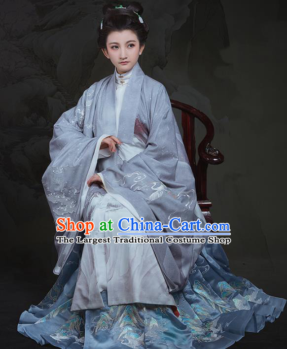 Chinese Ancient Ming Dynasty Nobility Dowager Hanfu Dress Traditional Court Countess Embroidered Replica Costume for Women