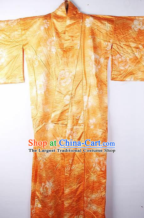 Asian Japanese Ceremony Clothing Classical Peony Pattern Orange Kimono Traditional Japan National Yukata Costume for Men