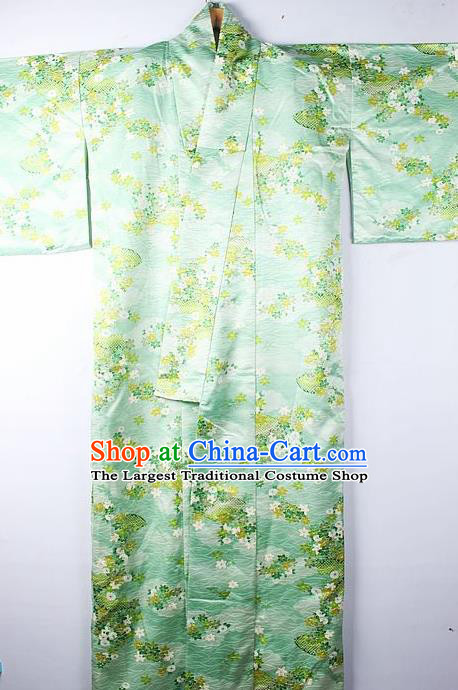 Asian Japanese Ceremony Clothing Classical Primrose Pattern Green Kimono Traditional Japan National Yukata Costume for Men
