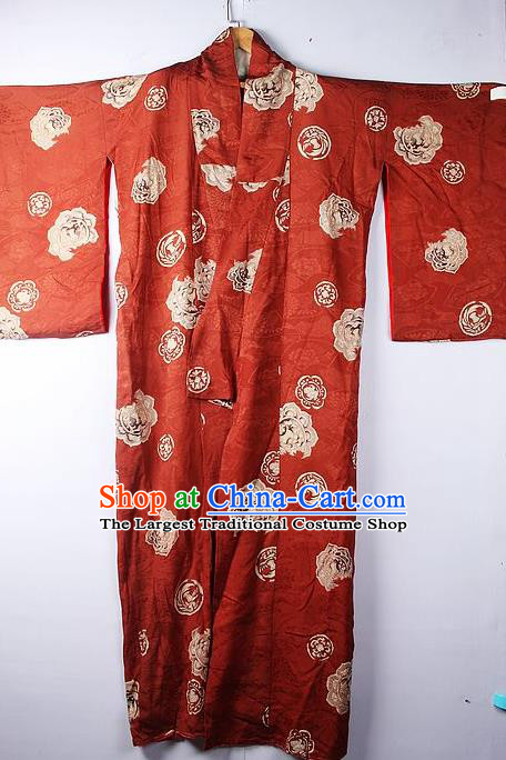 Asian Japanese Ceremony Clothing Classical Pattern Rust Red Kimono Traditional Japan National Yukata Costume for Men