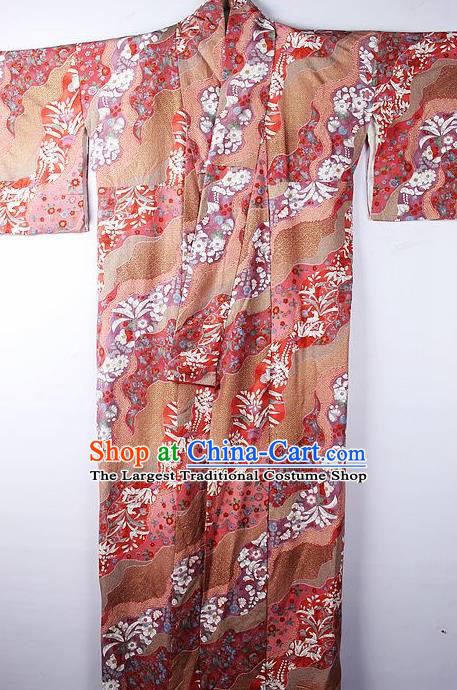 Asian Japanese Ceremony Clothing Classical Flow Sakura Pattern Kimono Traditional Japan National Yukata Costume for Men