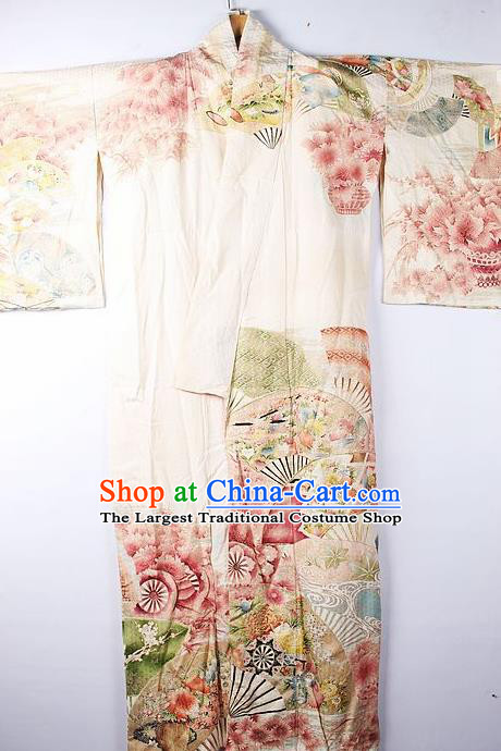 Asian Japanese Ceremony Clothing Classical Pattern Beige Kimono Traditional Japan National Yukata Costume for Men
