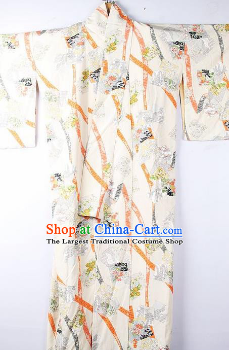 Asian Japanese Ceremony Clothing Classical Palace Pattern Beige Kimono Traditional Japan National Yukata Costume for Men