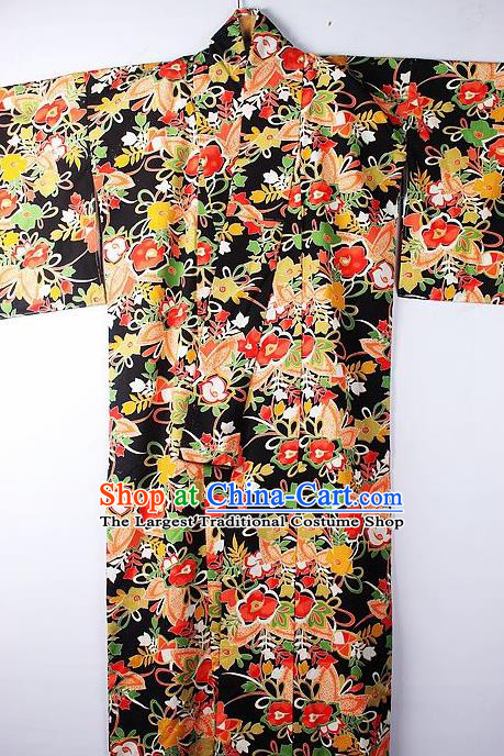 Asian Japanese Ceremony Clothing Classical Flowers Pattern Black Kimono Traditional Japan National Yukata Costume for Men