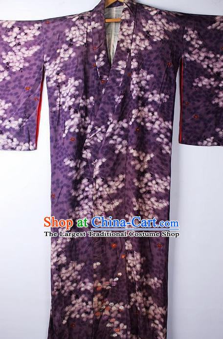 Asian Japanese Ceremony Clothing Classical Pattern Purple Kimono Traditional Japan National Yukata Costume for Men