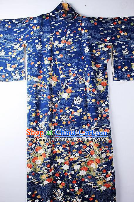 Asian Japanese Ceremony Clothing Classical Flowers Pattern Royalblue Kimono Traditional Japan National Yukata Costume for Men