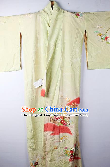 Asian Japanese National Printing Daisy Yellow Furisode Kimono Ceremony Costume Traditional Japan Yukata Dress for Women