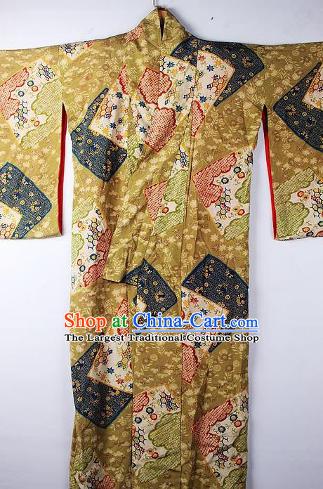 Asian Japanese Ceremony Clothing Classical Pattern Ginger Kimono Traditional Japan National Yukata Costume for Men