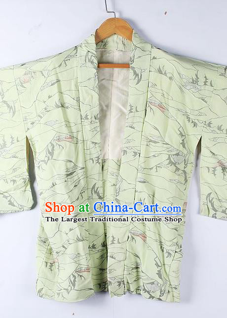 Asian Japanese Clothing Classical Pattern Light Green Haori Coat Kimono Traditional Japan National Costume for Men