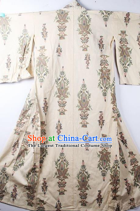 Asian Japanese Classical Pattern Beige Yukata Robe Traditional Japan Kimono Costume for Men