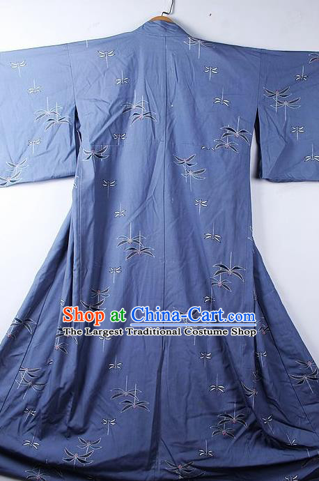 Asian Japanese Classical Dragonfly Pattern Blue Yukata Robe Traditional Japan Kimono Costume for Men